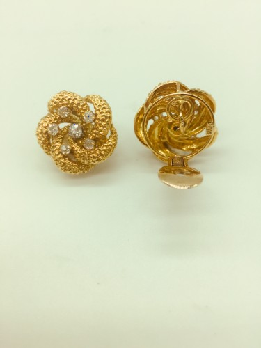 A pair of diamond and gold earclips : by VAN CLEEF and ARPELS  - Antique Jewellery Style