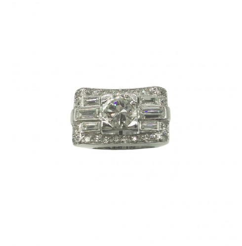 A diamond and platinum ring circa 1935
