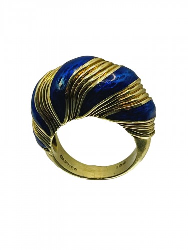 Gold and blue enamel  ring by CARTIER