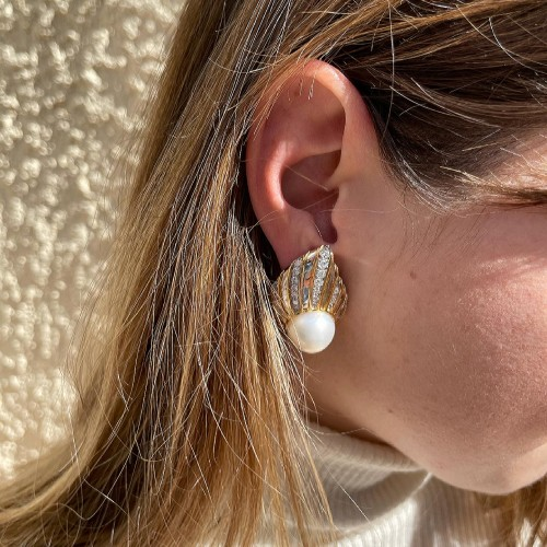 gold and diamonds south sea earrings by REPOSSI  -