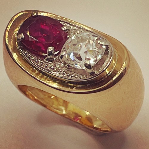Gold ring by MELLERIO, non heated ruby and diamond -