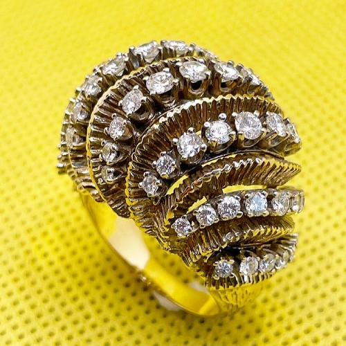 Gold and diamonds ring circa 1960 - Antique Jewellery Style 50