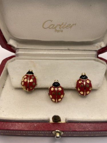 CARTIER - Enameled cufflinks and pins by, ladybirds - Antique Jewellery Style