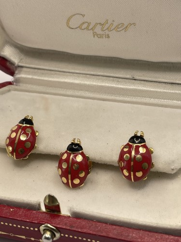 Antique Jewellery  - CARTIER - Enameled cufflinks and pins by, ladybirds
