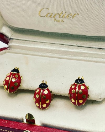 20th century - CARTIER - Enameled cufflinks and pins by, ladybirds