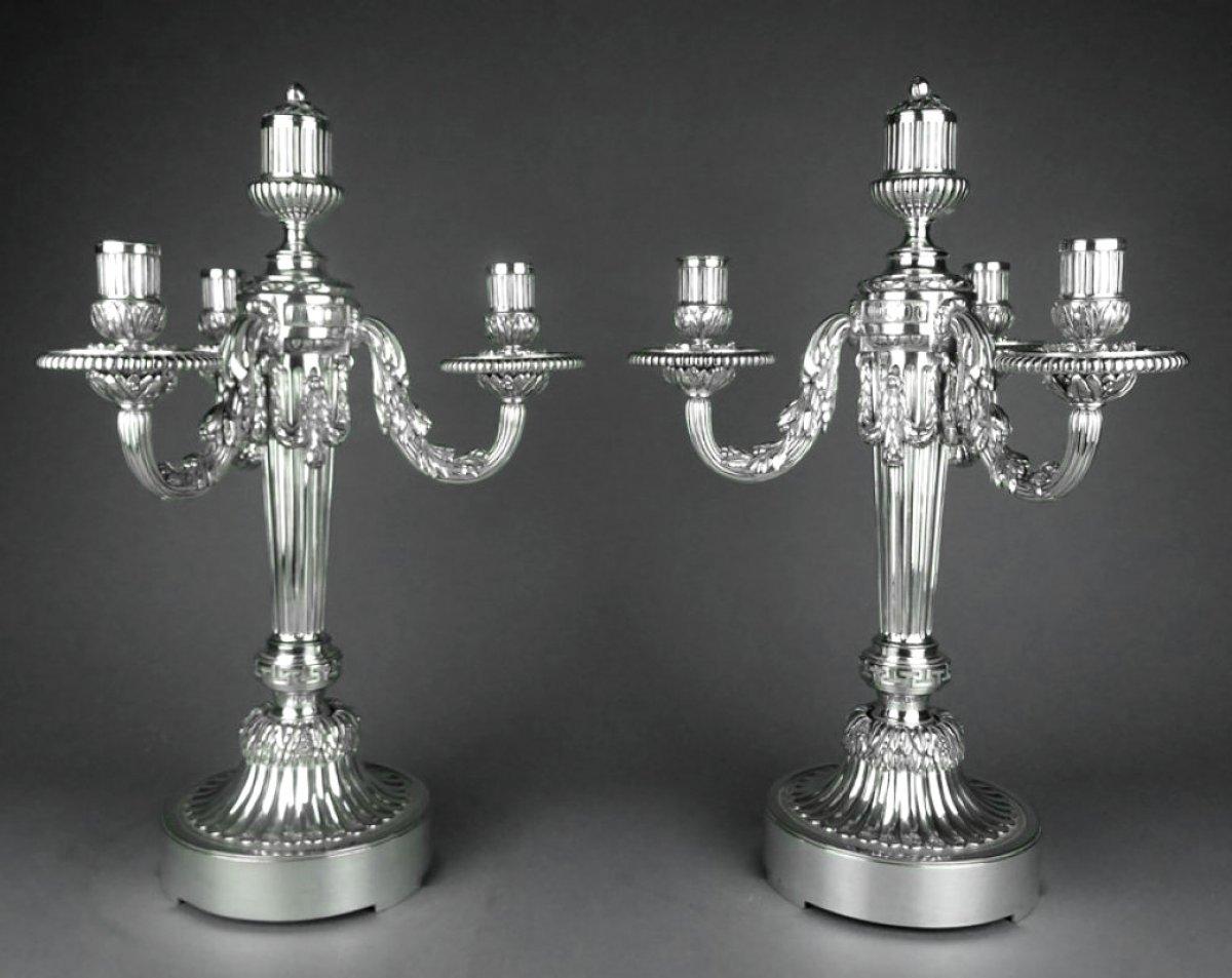 paire de chandeliers en bronze argent xixe si cle. Black Bedroom Furniture Sets. Home Design Ideas