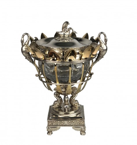 Garreau à Paris - Confiturier in silver and crystal with vermeil spoons