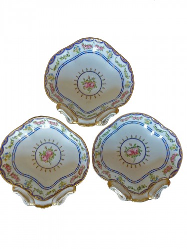 Three shell dishes, Sèvres 1790-1795