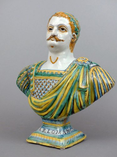 17th century faience  bust representing Charlemagne -