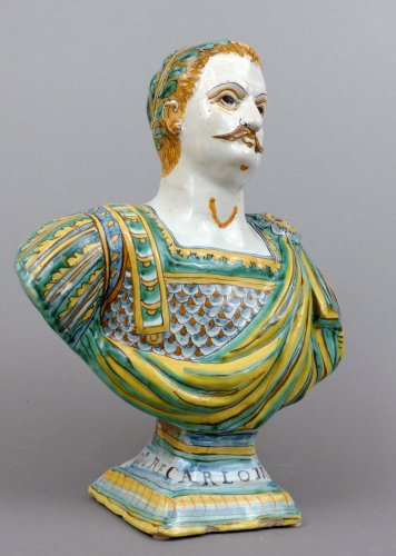17th century - 17th century faience  bust representing Charlemagne