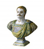 17th century faience  bust representing Charlemagne