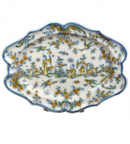 18th century oval faience platter from Lyon