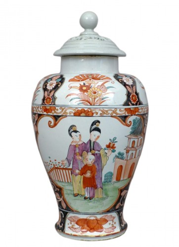 18th century Delftware covered vase
