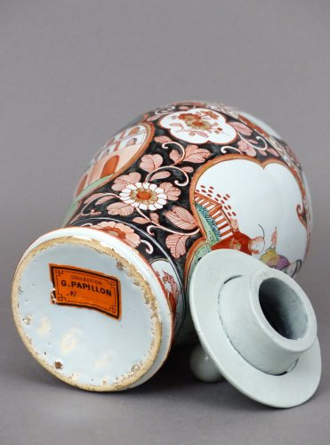 - 18th century Delftware covered vase