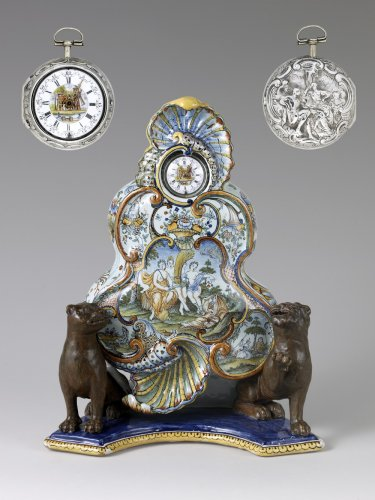 "A Louis XV Faience clock stand attributed to the ""Maître des Muses"""