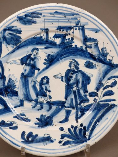 17th century faience platter of Nevers - Porcelain & Faience Style