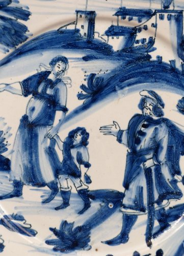 Porcelain & Faience  - 17th century faience platter of Nevers