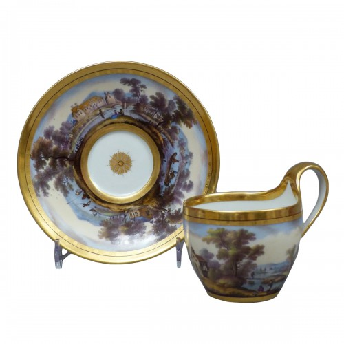 Berlin porcelain cup and saucer, late 18th century