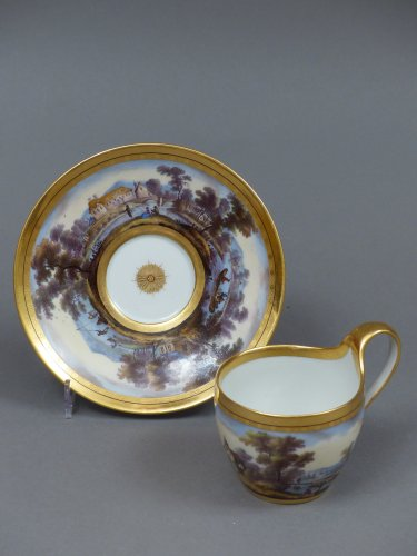 Berlin porcelain cup and saucer, late 18th century - Porcelain & Faience Style Louis XVI