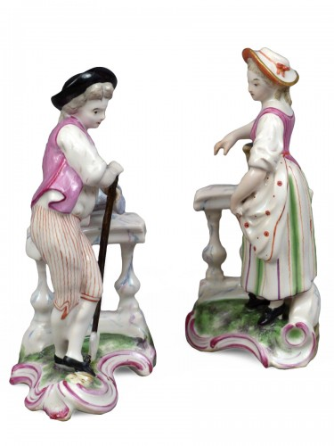 Gardeners at the balustrade, faience Niderviller 18th century