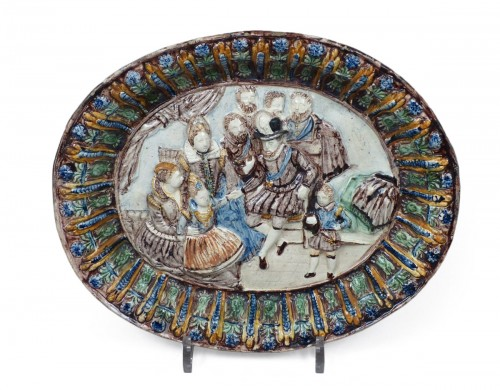 Glazed pottery dish Pré d'Auge 17th century