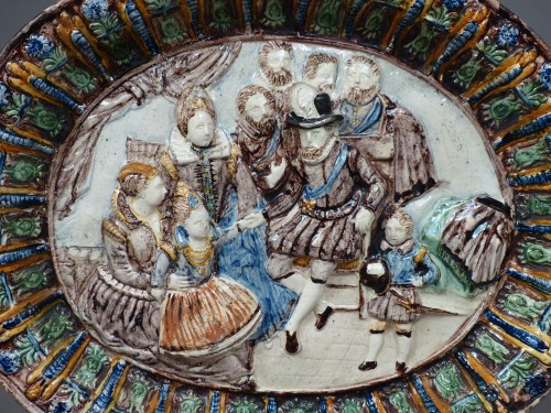 Porcelain & Faience  - Glazed pottery dish Pré d'Auge 17th century