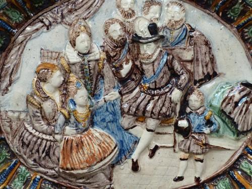 Glazed pottery dish Pré d'Auge 17th century -