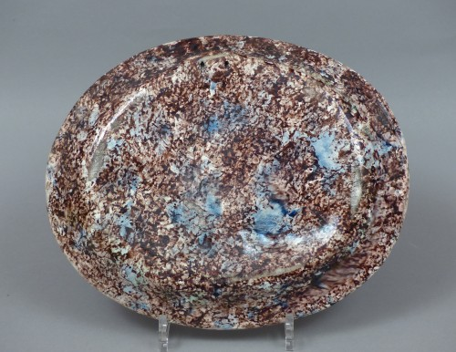 Glazed pottery dish Pré d'Auge 17th century - Louis XIII