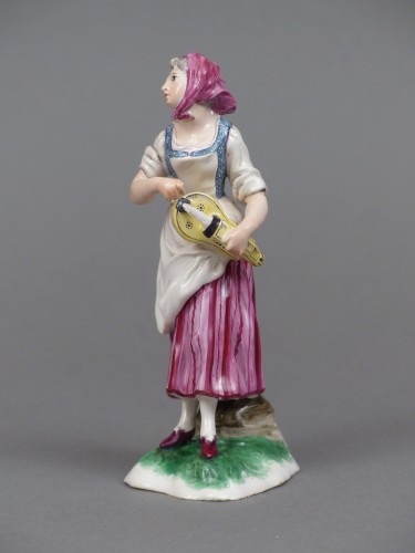 Antiquités - Faience of Niderviller 18th century - Player of hurdy-gurdy