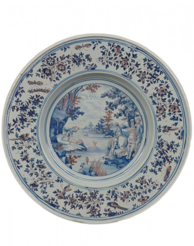 Large Nevers earthenware dish from the 17th century
