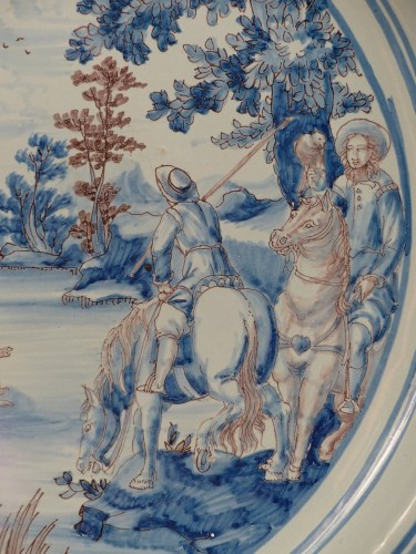 Large Nevers earthenware dish from the 17th century -