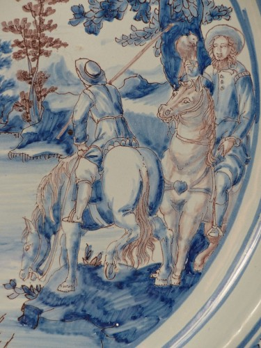 17th century - Large Nevers earthenware dish from the 17th century