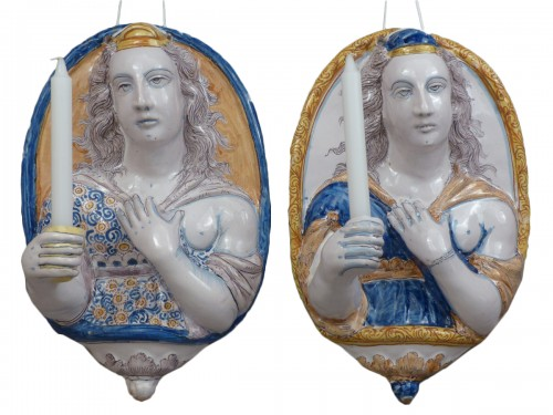 Pair of earthenware sconces, France Nevers 1625 - 1630