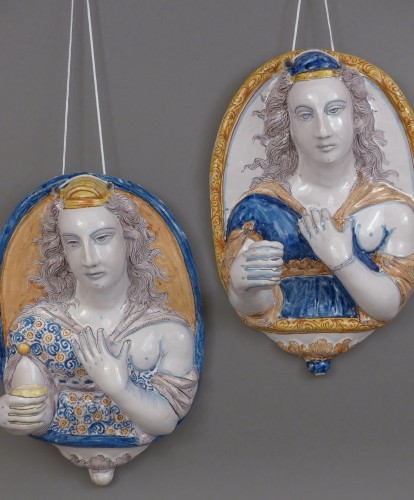 Pair of earthenware sconces, France Nevers 1625 - 1630 - Porcelain & Faience Style Louis XIII