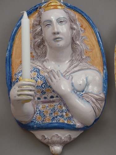 Pair of earthenware sconces, France Nevers 1625 - 1630 -