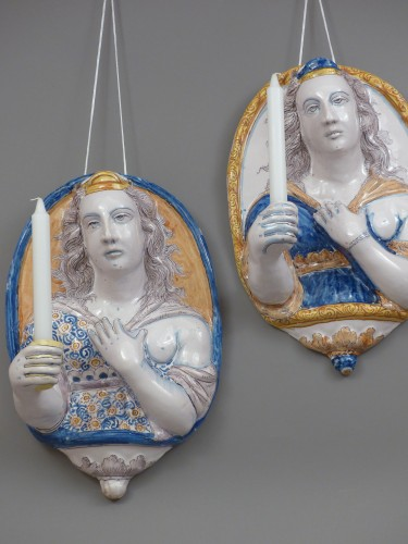 Louis XIII - Pair of earthenware sconces, France Nevers 1625 - 1630
