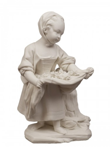 The little girl with an apron, soft porcelain Sèvres biscuit 18th century