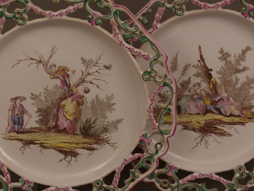 """Porcelain & Faience  - Pair of Marseille earthenware dishes, """"Veuve Perrin"""" factory 18th century"""