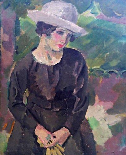 Lady in a park - Henri FEHR (1890-1974)
