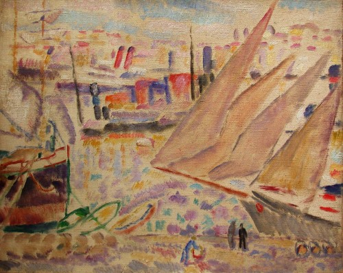 Harbor of Marseille par A.Carrera (1878-1952)