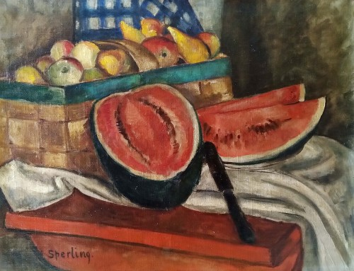 still life with watermelon - Marie Sperling (1898-1995)