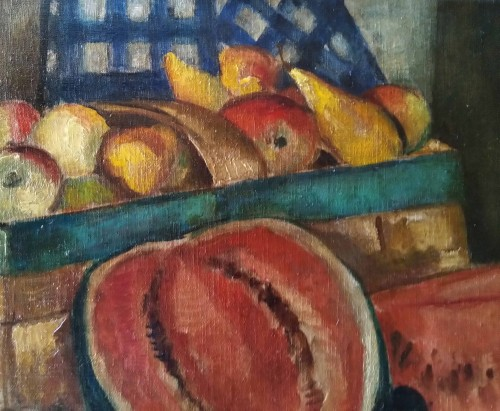 still life with watermelon - Marie Sperling (1898-1995) - Paintings & Drawings Style Art Déco
