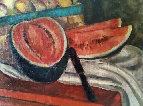 Paintings & Drawings  - still life with watermelon - Marie Sperling (1898-1995)