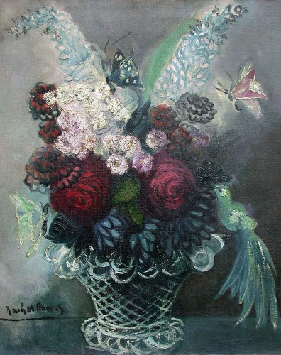 Bouquet with butterflies - Rachel Baes (1912-1983)