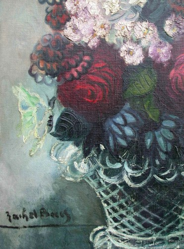 Bouquet with butterflies - Rachel Baes (1912-1983) - Paintings & Drawings Style Art Déco