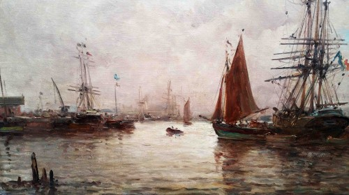 Marine A - Auguste Berthon (1858-1917) - Paintings & Drawings Style Napoléon III