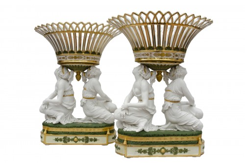 "Rare pair of baskets ""aux grâces"", Faber in Brussels, circa 1825-1830"