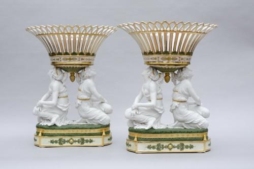 "Antiquités - Rare pair of baskets ""aux grâces"", Faber in Brussels, circa 1825-1830"