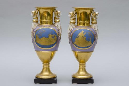 Empire - Ppair of porcelain vases, Russia Popov manufactor
