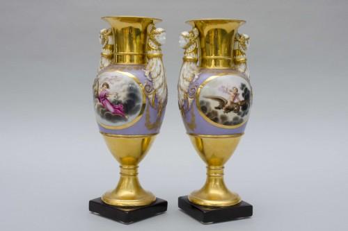 Antiquités - Ppair of porcelain vases, Russia Popov manufactor